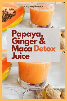 Spring is time to detox with this amazing and yummy Papaya Ginger and Maca Juice. Maca will also help to reduce your belly. Detox Diet Drinks, Detox Juice Recipes, Juice Cleanse, Detox Juices, Cleanse Recipes, Papaya Juice Recipe, Papaya Recipes, Papaya Smoothie, Juice Diet