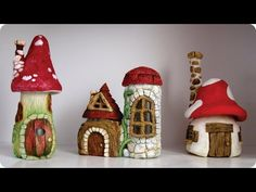 DIY Faux Stones & Wood - Fairy House Jars In this video tutorial I show you how I made a medium size fairy house using two jars, tin foil, hot glue, paper cl. Fairy Tree Houses, Clay Fairy House, Fairy Garden Houses, Fairy Gardens, Castle Gardens, Fairy Village, Gnome Garden, Polymer Clay Fairy, Mushroom House