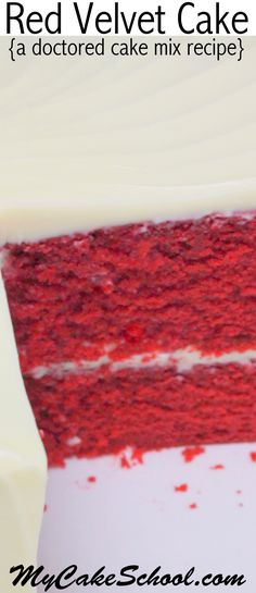 We've fallen in love with this moist and flavorful Red Velvet Cake-Doctored Cake Mix recipe! This tastes just like scratch Red Velvet Cake and is SO easy to make! MyCakeSchool.com. via @mycakeschool