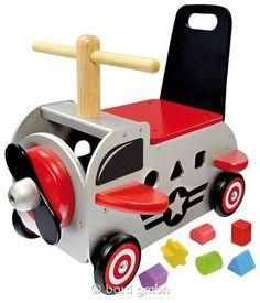 Bartl, Schiebewagen Flugzeug, Stabiler Spielwagen aus Holz