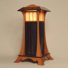 Custom Made Elegant Wood And Stained Glass Lantern - Shown in swiss pear and macassar ebony with oak burl and gabon ebony accents.