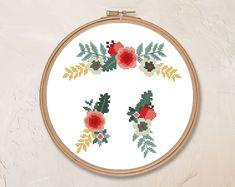 Floral ornament cross stitch pattern PDF flower wedding | Etsy Cross Stitch Borders, Cross Stitch Flowers, Modern Cross Stitch, Counted Cross Stitch Patterns, Wedding Embroidery, Floral Embroidery, Vintage Bee, Flower Circle, Flower Pillow