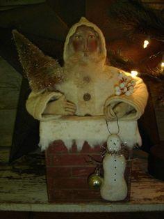 Primitive Folk Art Snowman and Santa Candle Ornament Cowboy Christmas, Primitive Christmas, Father Christmas, Country Christmas, Christmas Art, Simple Christmas, Vintage Christmas, Christmas Decorations, Christmas Vignette