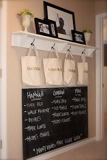 I could use this chalkboard next to the front door for our chores, but there's no room in the tiny house for a rack and bags. The Yellow Cape Cod: Family Command Center Family Command Center, Command Centers, Ideas Prácticas, Decor Ideas, Decorating Ideas, Ideas Para Organizar, Family Organizer, Shoe Organizer, Design Blog