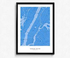 Manhattan New York City Map Poster Art Monochromatic Color de FlatMates en Etsy