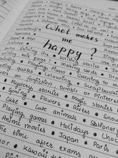 A 'what-makes-me-happy' page. It's a great way to de stress and … Bullet journal! A 'what-makes-me-happy' page. It's a great way to de stress and find joy in life. Great way to deal with depression.