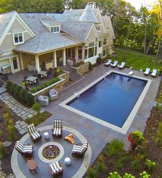 Ideas backyard layout with pool porches for 2019 Large Backyard Landscaping, Backyard Layout, Backyard Patio Designs, Diy Patio, Patio Ideas, Backyard Ideas, Pool Ideas, Landscaping Ideas, Firepit Ideas