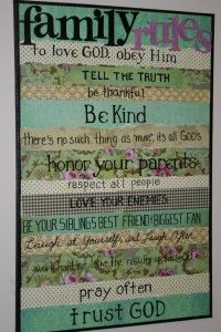 Family Rules made on a canvas with scrapbook paper.