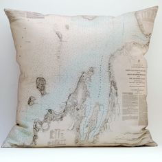 Lake Michigan Nautical Map Pillow