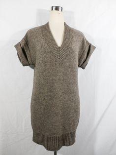 J. CREW Size XS TAUPE WOOL/ALPACA BLEND SWEATER/DRESS/LONG VEST SUPER SOFT #JCrew #VNeck