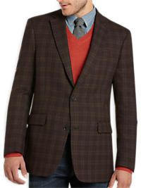 Tommy Hilfiger Brown & Burgundy Windowpane Check Slim Fit Sport Coat