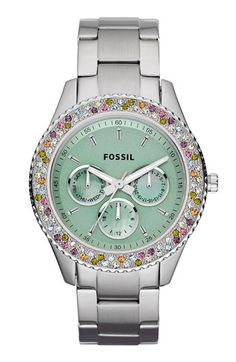 Fossil 'Stella' Crystal Bezel Multifunction Watch available at #Nordstrom