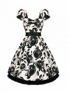 "Robe Rockabilly Vintage Retro HR London ""White Black Floral"""