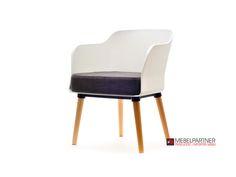 Nowoczesny fotel na 4 nogach zbudowany z 3 różnych matriałów: z tworzywa, drewna i części tapicerowanej. Modny i wygodny.