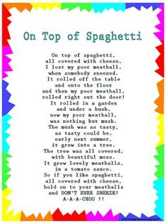 "Silly Songs: Lyrics for ""On Top of Spaghetti"" with a Learn Along Video grandparents day printables, deadbeat grandparents quotes, grandparents day books Kindergarten Songs, Preschool Music, Preschool Learning, Preschool Ideas, Movement Songs For Preschool, Circle Time Ideas For Preschool, Transition Songs For Preschool, Preschool Family Theme, Feelings Preschool"