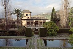 Granada -  Outside Lindaraja courtyard, there is the palace of Partal (the arcade palace). It is one of the oldest building of Alhambra, of which we have just few remains. The gardens around the palace was built in the XX century. Also in this case, a big pool in the front of the palace, reflects the front of the palace itself.