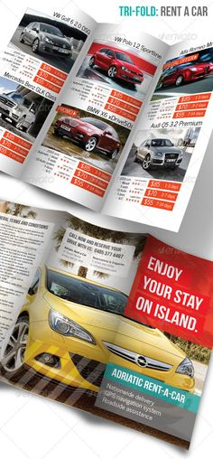Tri-fold: Rent a Car  #GraphicRiver         Trifold: Rent a Car Flyer Template.   Originaly designed for car rental services, but it can be used for any rental services like bicycles, scooter and motorcycle rents, holiday or villa rentals and many more.   File is 15 minutes away from printing job, all you have to do is to replace an image and edit text! However, whole layout, color scheme and fonts can be easily replaced through labeled and ordered layers.    Flyer Dimensions: 297×210 mm…