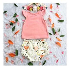 Light Coral Flutter Sleeve Tank and Floral Dreams Bloomers