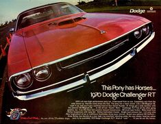 "1970 Dodge Challenger Ad: ""This Pony has Horses..."" - http://wildaboutcarsonline.com/"