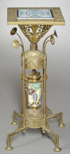 Aesthetic Movement Longwy Pottery and Bradley & Hubbard Brass Stand, 32 in. high  |  SOLD $2,726 March 2012