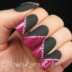 matte black & pink glitter french tips