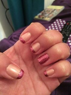Pink Glitter French Tips & Signature Nail