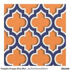 Shop Pumpkin Orange, Navy Blue Moroccan Quatrefoil Fabric created by FantabulousFabrics. Moroccan Fabric, Trellis Pattern, Pink Cotton Candy, Orange Background, Quatrefoil, Textile Patterns, Custom Fabric, Fabric Design, Weaving