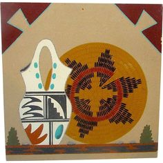 Native American Navajo Sand Painting of Wedding Vase and Wedding Basket by R. Watchman. Signed on the back