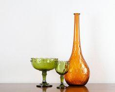Gold Amber Glass Vase Decanter Genie Bottle Home Decor