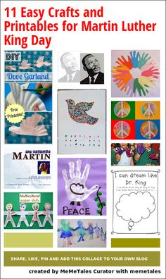 11 easy, colorful crafts and printables for MLK day.