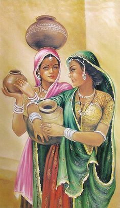 Rajasthani Women - People Posters (Reprint on Paper - Unframed) poster Rajasthani Women Indian Artwork, Indian Folk Art, Indian Art Paintings, Oil Paintings, Famous Artists Paintings, Dance Paintings, Rajasthani Painting, Rajasthani Art, India Painting