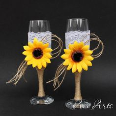 Sunflower Champagne Glasses Burlap and Lace Toasting by AniArts