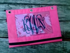Personalized Monogram 3 ring binder pencil bag pencil pouch -- Free Shipping in USA by customvinylbydesign on Etsy https://www.etsy.com/listing/198708427/personalized-monogram-3-ring-binder