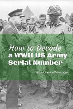 to Decode a WWII US Army Serial Number World War II US Army serial numbers weren't random. This guide will show you what each part means.World War II US Army serial numbers weren't random. This guide will show you what each part means. Genealogy Websites, Genealogy Chart, Genealogy Forms, Genealogy Humor, Genealogy Search, Family Genealogy, Family Reunion Games, Family Reunions, Genealogy Organization