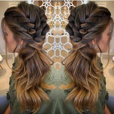 Boa noite ✨✨ by . Bridesmaid Hair Side, Wedding Hair Side, Wedding Hair And Makeup, Hair Makeup, Homecoming Hairstyles, Wedding Hairstyles For Long Hair, Braids For Long Hair, Side Ponytail Hairstyles, Down Hairstyles