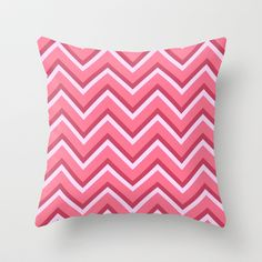 Pink Zig Zag Pattern Throw Pillow by Texture - $20.00 #pink #zigzags #pattern #pillow #cusion