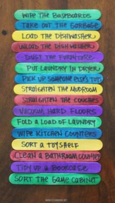 will be home starting next week. Let's keep our sanity and begin Summer Boot Camp. Loving these Chore Sticks.Kids will be home starting next week. Let's keep our sanity and begin Summer Boot Camp. Loving these Chore Sticks. Chore Rewards, Kids Rewards, Reward System For Kids, Chore Sticks, Chore Board, Clean Mama, Job Chart, Chore Chart Kids, Roommate Chore Chart