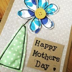 Flower Appliqué Card Mothers Day Birthday Card Decorative