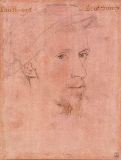 A portrait drawing of Henry Howard, Earl of Surrey. The portrait is of the head only and is shown three-quarters to the right.E: of Surrey. Tudor History, British History, Gouache, Tudor Era, Tudor Style, Hans Holbein The Younger, Tudor Dynasty, Renaissance Portraits, The Royal Collection