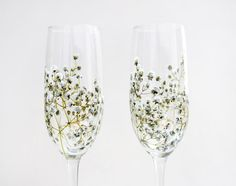 Champagne Flutes  Baby's Breath Collection  made to by yevgenia, $95.00