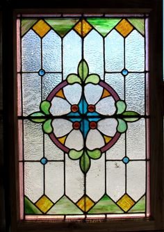 Antique American Stained Glass Window 27 5 x 40 5 Architectural Salvage | eBay