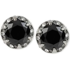 Betsey Johnson Silver-Tone Black Faceted Stone Disc Stud Earrings (2.120 RUB) ❤ liked on Polyvore featuring jewelry, earrings, accessories, black, stud earring set, mixed metal earrings, disc jewelry, disc stud earrings and silvertone earrings