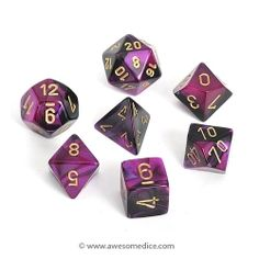 Custom & Unique {Standard Medium} 7 Ct Pack Set of Assorted Polyhedral Shapes Playing & Game Dice w/ Simple Design [Purple, Black & Gold] w/ Dice Box Orange And Turquoise, Purple And Black, 4 Sided Die, Wizard Dice, Classic Rpg, Dungeons And Dragons Dice, Dragon Dies, Dice Box, Nerd Love