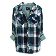 Rails Kendra Tencel Plaid Shirt in Green/Navy/White ($128) ❤ liked on Polyvore featuring tops, shirts, flannels, blouses, navy blue tops, white top, tartan shirt, plaid top and plaid shirt