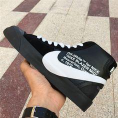 Off-White x Nike Blazer Studio Mid Black Grim Reapers - Off-White x Nike - Nike Nike Blazer Black, Off White Blazer, Off White Shoes, White Blazers, White Shirts, Black Skinnies, Black Pants, Fashion Shoes, Mens Fashion