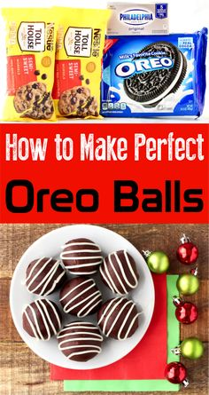 How to Make Oreo Dessert! This decadent and delicious oreo balls recipe is the perfect addition to your holiday menu. Give it a try this week! Bite Size Desserts, Desserts Menu, Holiday Desserts, Dessert Recipes, No Bake Oreo Balls Recipe, Easy Oreo Ball Recipe, Pecan Fudge Recipe, Fudge Recipes, Easy Recipes