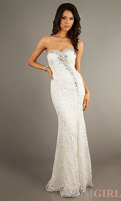 Strapless Sweetheart Lace Floor Length Dress at PromGirl.com