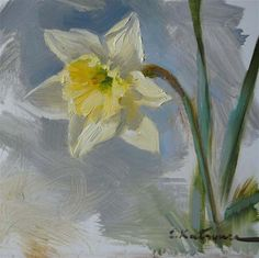 """Daffodil Sketch"" - Original Fine Art for Sale - © Elena Katsyura Fabric Painting, Watercolour Painting, Floral Watercolor, Flower Art, Art Flowers, Learn To Paint, Fine Art Gallery, Daffodils, Painting Inspiration"