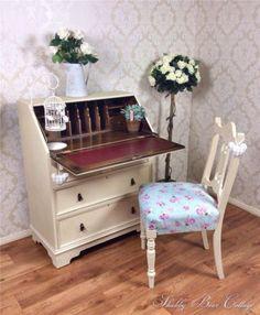 Shabby Chic Art Writing Desk Bureau French Painted carved Vintage Retro Pine | eBay