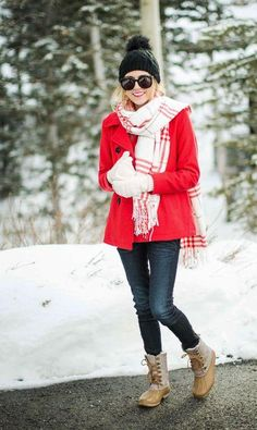 red winter coat with plaid scarf, How to layer in winter http://www.justtrendygirls.com/how-to-layer-in-winter/